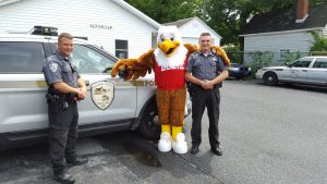 Eddie the Eagle Visits Dagsboro Police Department Officer Bare (left) Chief Toomey (right)